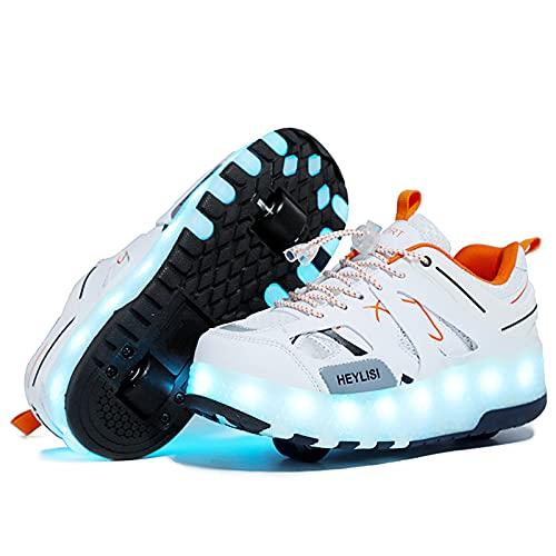 WXHXSRJ 7 Colores Que cambian los Zapatos del patín de Ruedas del LED, Zapato de Skate técnico retráctil automático, Regalo del día de los niños,Blanco,33