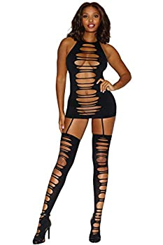 Dreamgirl Women s Seamless Opaque Dress with Slash Details and Attached Thig-Highs Black One Size