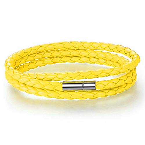 Einsgut Armband Schmuck Herren Damen Armband Multi Layered Wickelarmband Geflochten Leder Armband Armreif Mit Magnetverschluss