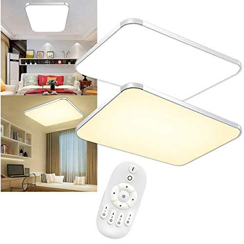 Aufun LED Deckenleuchte Dimmbar 72W Deckenlampe mit Fernbedienung Wohnzimmer Lampe für Schlafzimmer, Kinderzimmer, Küche, Büro, Flur, Bad, Innen IP44, Rechteck