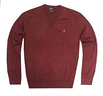 Polo Ralph Lauren Men s Classic Fit Long Sleeve V-Neck Pima Cotton Sweater Burgundy Medium