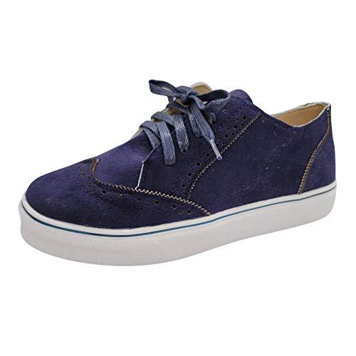 Damen Schnürhalbschuhe Schnürung Schuhe britischer Stil Schnürschuhe Sneaker Frauen sportlicher Schnürer Freizeitschuh(1-Blau/Blue,36)