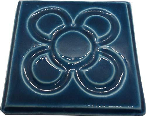 DataPrice Posavasos Baldosa Flor de Barcelona. 10 x 10 cm. Peso: 120 grs. Color Azul. Barcelona y Gaudí. para Regalar!! Decoración del Hogar. (4)
