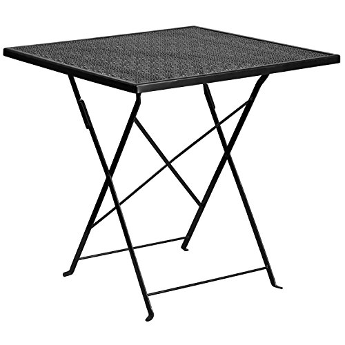 """Flash Furniture Commercial Grade 28"""" Square Black Indoor-Outdoor Steel Folding Patio Table"""