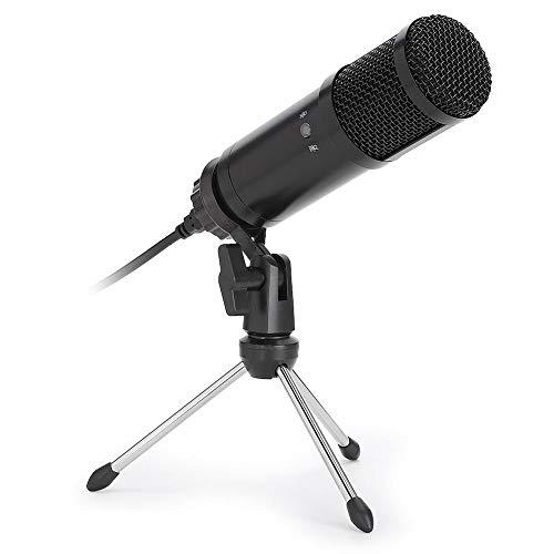 Micrófono de conferencia de escritorio, unidad de micrófono de condensador USB Micrófono gratuito con trípode Adecuado para karaoke en línea, alojamiento, chat de voz, grabación individual