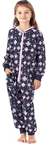Merry Style Mädchen Schlafstrampler Strampelanzug mit Kapuze MS10-223 (Marine Blumen, 134-140)
