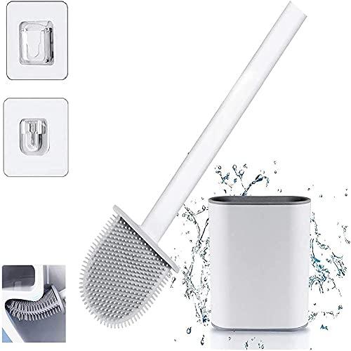 Banth Cepillo de baño montado en la pared Cepillo de baño Cepillo de limpieza del hogar Cepillo de inodoro sin calles muertos Inodoro Cepillo de silicona para baño WC