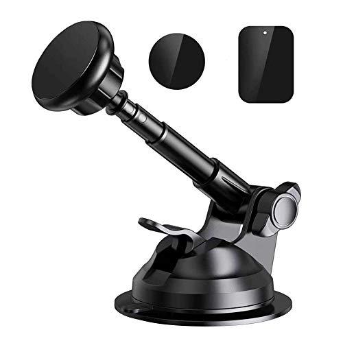 Soporte para teléfono para automóvil, parabrisas para salpicadero, soporte para teléfono con brazo largo, ventosa de gel fuerte y pegajoso, estabilizador antivibración(Negro)