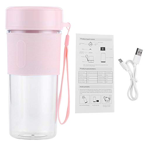 YunDduoBao Beach Personal Blender, Portable Small Size Blender USB Rechargeable Small Fruit Juicer Multifunctional Electric Cup Suitable for Travel Office Outdoor Double Cup Mini Blender