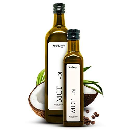 Premium MCT Öl von Steinberger | 100% reines MCT-Öl C8/C10 aus Kokosnüssen gewonnen | 1x250 ml Glasflasche mit Dosierer
