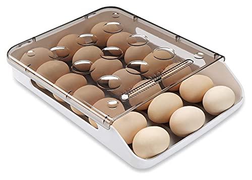 Huevo Almacenamiento Organizador Huevo Huevo Auto Desplazamiento hacia abajo para refrigerador, Smart Apilable ANTILIBLE Diamblado Huevo Bandeja Envase de alimentos con tapa y mango, plástico transpar