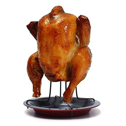 Soporte para pollos vertical Soporte para pollo antiadherente de acero inoxidable Soporte para asador de pollo BBQ Soporte para muslos de pollo para pollos, patos, pavos pequeños, urogallo(negro+rojo)
