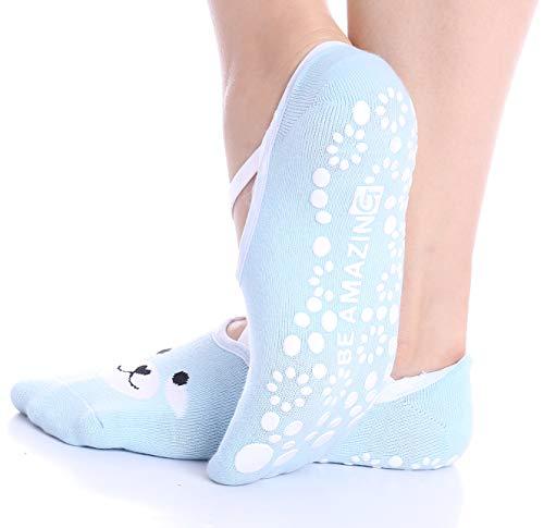 Yoga Socks for Women Barre Sock Grip Non-Slip No-Skid Pilates Hospital Maternity (1-Pair Baby Blue)