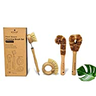 Ecozoi Plant Based Cleaning Brush Set, 4 Piece for Vegetable, and Kitchen Dish Cleaning, Sisal & Coconut Fibers with Bamboo Handles, Zero Waste & Biodegradable Kitchen Brushes