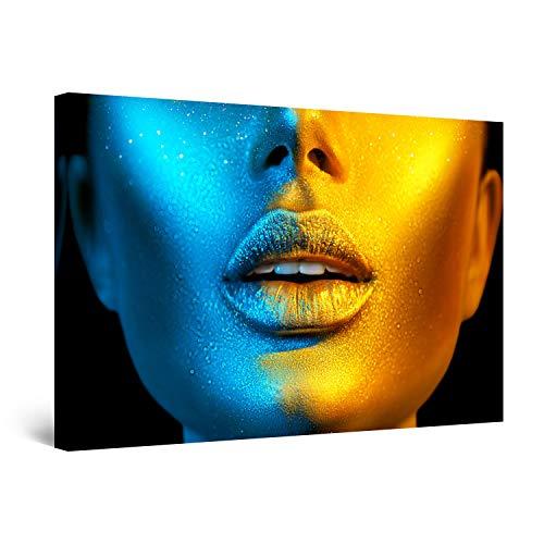 Startonight Quadro su Tela Moda Donna Blu Oro - Grandi Quadri Moderni Astratti - Stampe Camere da Letto 80 x 120 cm