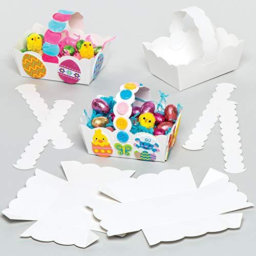Weiße Osterkörbe aus Pappe zum Dekorieren und Basteln für Kinder zu Ostern (12 Stück)