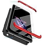 BESTCASESKIN Funda para Xiaomi Mi MAX 2, Carcasa Móvil de Protección de 360° 3 en 1 Desmontable con HD Protector de Pantalla Caso Case Cover para Xiaomi Mi MAX 2 (Rojo Negro)
