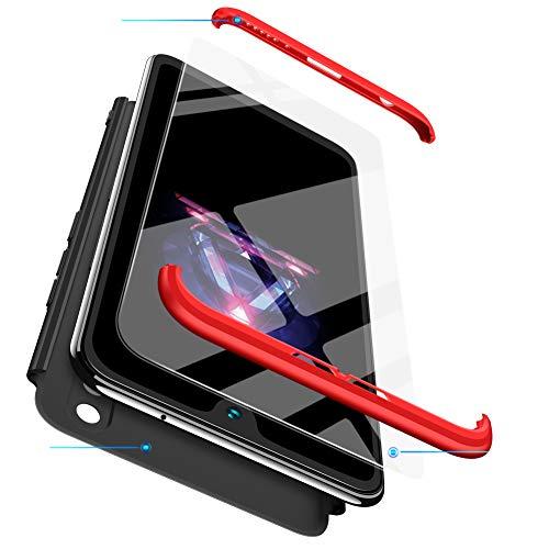 xinyunew Cover Compatibile con Huawei p8 Lite 2017,Protezione del Corpo a 360 Gradi + Pellicola Protettiva in Vetro temperato,[Anti-Impronta][AntiGraffio] Guscio Protettivo 3 in 1- Rosso Nero