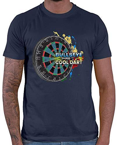 HARIZ Herren T-Shirt Bullseye Cool Dartscheibe Dart Darten Dartscheibe Sport Fun Trikot Inkl. Geschenk Karte Navy Blau XL