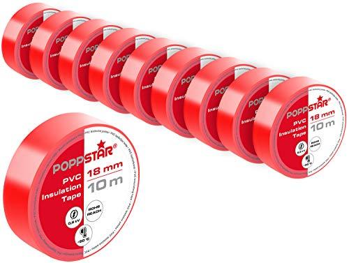 Poppstar 10x 10m Universal Isolierband, PVC Dichtband und Klebeband (Dichtungsband zur Isolation - Reparatur von elektrischen Leitern) (Band 18mm breit), rot