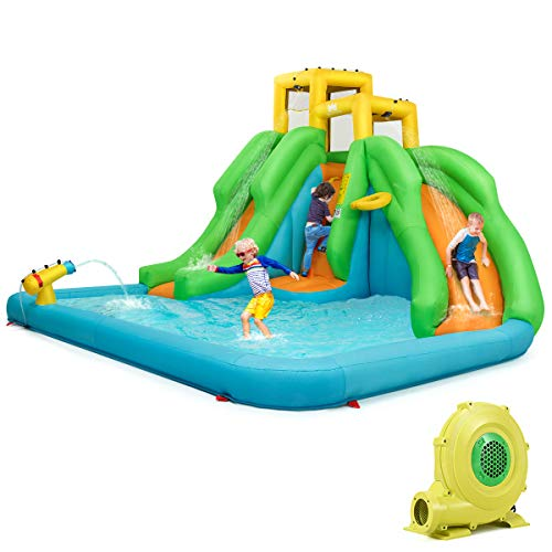 HONEY JOY Inflatable Water Slide, Kids Bounce House w/Two Slides, Climbing Wall & Large Splash Pool, Water Cannons & Hose, Outdoor Party Water Play Center for Children Baby Girl Boy(with 480w Blower)