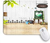 EILANNAマウスパッド 庭の装飾図面ボード木製の壁の緑の植物のテーマ ゲーミング オフィス最適 高級感 おしゃれ 防水 耐久性が良い 滑り止めゴム底 ゲーミングなど適用 用ノートブックコンピュータマウスマット