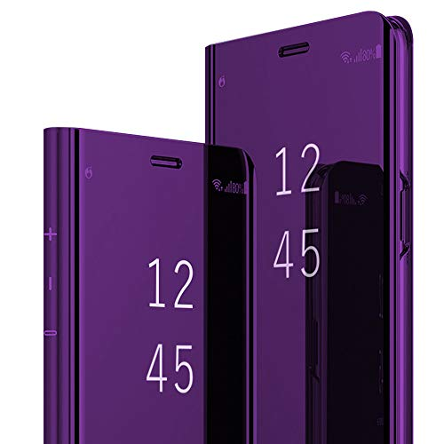 Für Samsung Galaxy S9 Plus Hülle Galaxy S9 Plus Handyhülle Spiegeln Leder Flip Hülle Ständer Clear View Spiegel 360 Grad Tasche Schutzhülle mit Standfunktion Handyhülle (Lila)