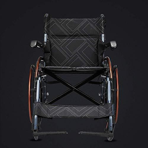 YAeele Silla de ruedas plegable ligera, ancianos, viajes portátiles, discapacitados, ancianos, multifuncional para sillas de ruedas de empuje a mano