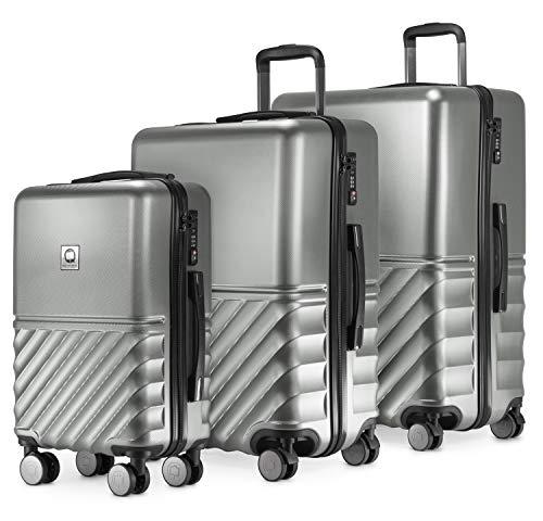 HAUPTSTADTKOFFER - Boxi - 3er Koffer-Set Trolley-Set Rollkoffer Reisekoffer TSA, 4 Rollen, (S, M & L), Silber