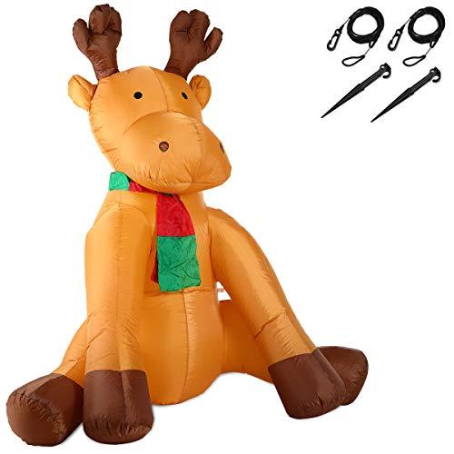 Monzana Aufblasbares Rentier 180cm LED Beleuchtet Befestigungsmaterial Weihnachtsdekoration Weihnachten Elch Deko Figur