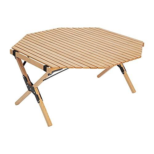Mesa Plegable para Exteriores, Bambú Camping Terraza Superficie de Madera Maciza PicnicPortátil...