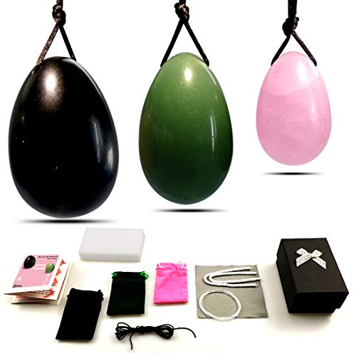 Yoni Eggs for Women Kegel Training,Drilled Genuine Large Obsidian Medium Green Aventurine Jade Small Rose Quartz 3pcs Set, Yoni Pelvic Floor Muscles Massage Exercise, Vaginal Health Care Gift