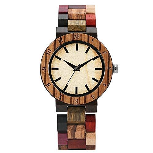 UIOXAIE Reloj de Madera Reloj de líneas Azules Irregulares Reloj de Madera de Moda para Mujer Reloj de Pulsera de Madera de Colores Mezclados Vintage Reloj de Mujer, Esfera Simple
