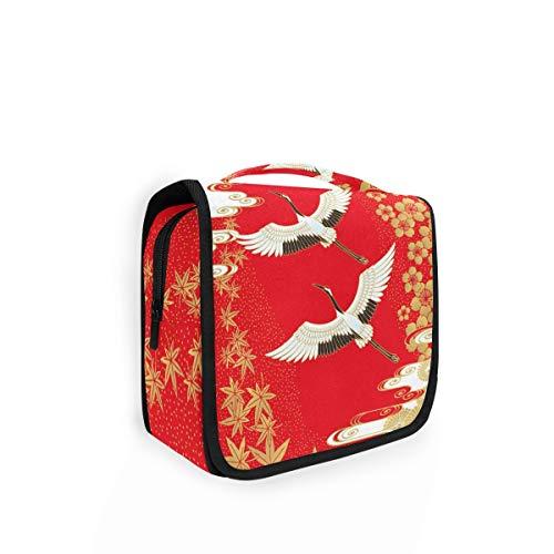 XIXIKO Japanische Kraniche Sakura Ahorn Hängende Kulturtasche Reise Kulturbeutel Organizer Faltbare Kosmetik Make-up Tasche für Frauen Mädchen Damen