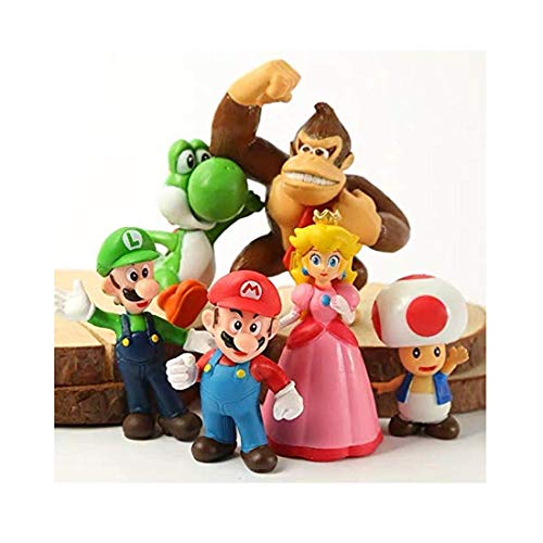 Super Cake Topper Mario Figures Toy Set of 6-Party Supplies Birthday...