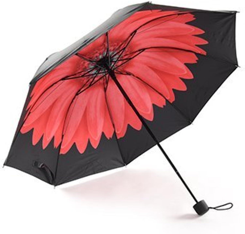 FASHION ALICE Black Daisy Compact Triple Folding Umbrella UV Predected Sun Parasol Gift(Red Flower)