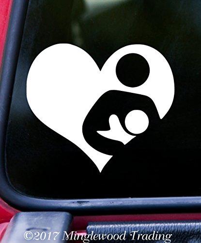 Minglewood Trading Breastfeeding Heart 6' x 5' White Vinyl Decal Sticker - Nursing