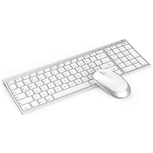 Jelly Comb Funktastatur mit Maus Set, 2.4G Kabellose Ultraslim Mini Tastatur und USB Maus Wiederaufladbar für PC, Laptop, Smart TV usw, QWERTZ Deutsches Layout, Weiß und Silber