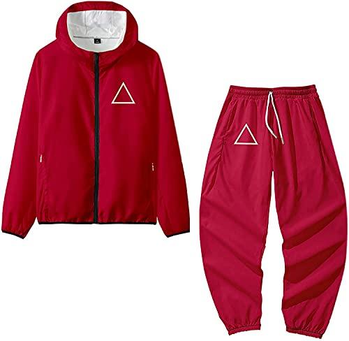 Calamar Juego Sudadera Cosplay Disfraz 001 067 218 240 456 Logo Cremallera Sudaderas Pantalones Trajes Halloween Cosplay para Mujeres Hombres (Red,L)