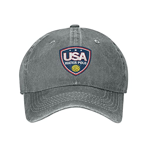 USA Water Polo Sun Hat Dad Hat Baseball Cap Cotton Adjustable Fitted for Women Men Gray