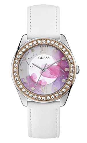 GUESS Women's Stainless Steel Quartz Watch with Leather Strap, White, 20 (Model: GW0240L1)