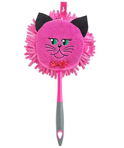 Vigar Felix Double Use Microfiber Duster, Dual-sided Cat-shaped Brush Head with Dust-trapping Tendrils, Removable and Machine Washable Top, Ergonomic Handle with Hanging Hole, Pink