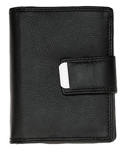Damen Schwarzes Leder Portemonnaie - Geldbörse Kabana Hochformat