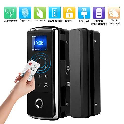 Boquite Fingerabdrucksperre, elektrisches Türschloss, Touch-Tastatur Elektrische Fingerabdruck-Passwortsperre Anwesenheitstürklingelfunktion für Glastüren