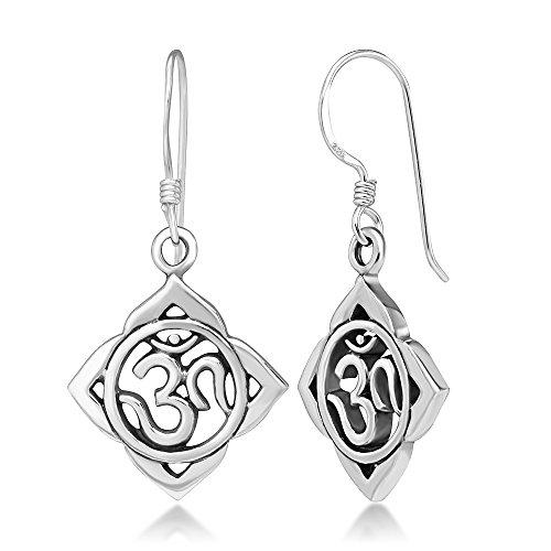925 Sterling Silver Aum Om Ohm Lotus Leaf Symbol Chakra Yoga Dangle Hook Earrings, 33 mm