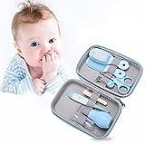 Accesorios Bebe Recien Nacido Set para Cuidado del Bebé, 8 Piezas Kit de Aseo para Bebés, Kit Cuidado Higiénico Personal para el Hogar y de Viaje, Ideal para Recién Nacido, Niña y Niño(azul)