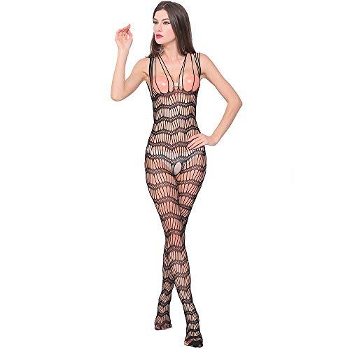 ODJOY-FAN Siamese Dessous Frau Öffnen Gabelung Perspektive Unterwäsche Schlafanzug Siamese Net Kleidung Schlinge Onesies Sexy Erotic Reizwäsche (Schwarz,1 PC)