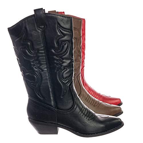 Soda Cowgirl Cowboy Western-Stiefel, gesteppt, spitz zulaufender Zehenbereich, kniehoch, Reno-S, Schwarz (Schwarz (Black Pu)), 36.5 EU