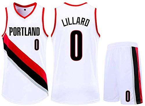 Bambini delle Ragazze dei Ragazzi degli Uomini Adulti NBA Portland Trail Blazers # 0 Damian Lillard Retro Suits Pallacanestro Maglie estive Kit Top + Shorts 1 Set