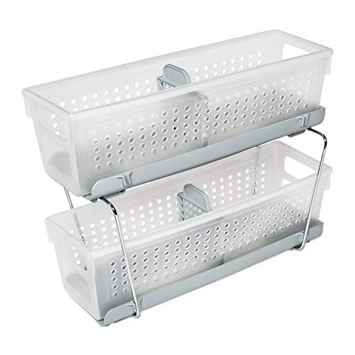 madesmart 2-Tier Organizer Bath Collection Slide-out Baskets with Handles, Space Saving, Multi-purpose Storage & BPA-Free, Mini, Frost-With Dividers